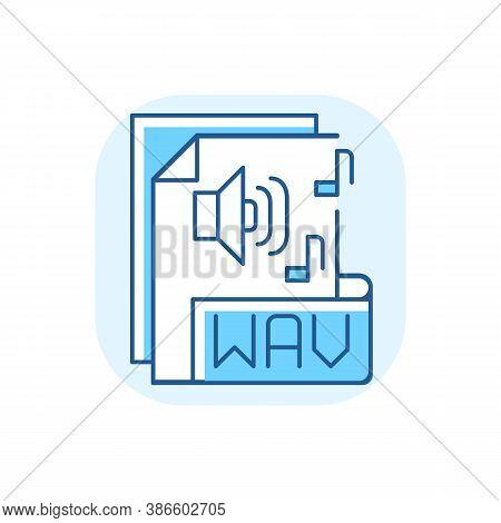 Wav File Blue Rgb Color Icon. Waveform Audio File Format. Storing Data In Segments. Uncompressed Los