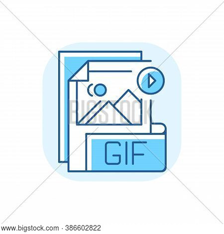 Gif File Blue Rgb Color Icon. Graphic Interchange Format. Filename Extension. Animated Raster Graphi