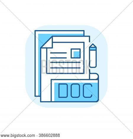 Doc File Blue Rgb Color Icon. Document File Format. Word Processing Software. Formatted Text, Images
