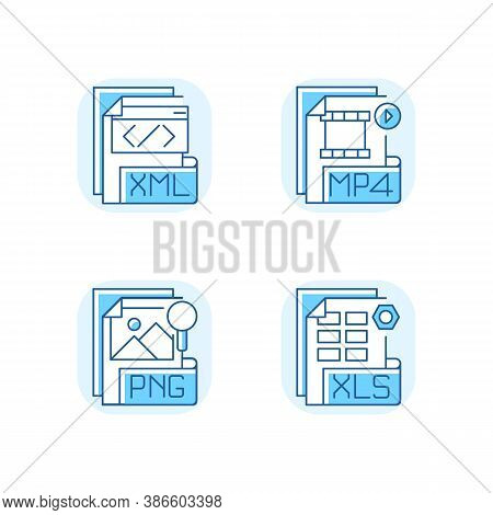 File Types Blue Rgb Color Icons Set. Xml. Mp4. Png. Xls. Spreadsheet, Data, Video, Raster Image File
