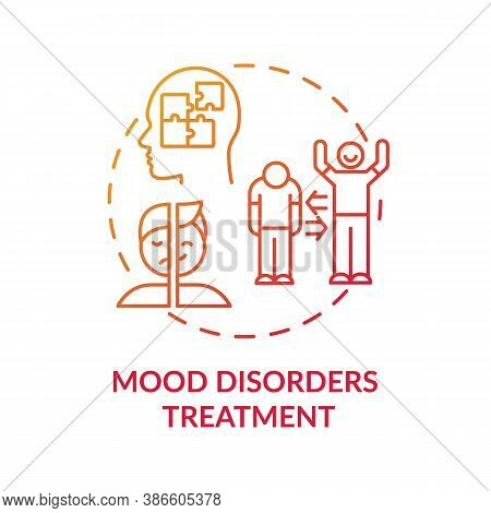Mood Disorders Treatment Concept Icon. Bipolar Disorder Diagnostics Idea Thin Line Illustration. Cog