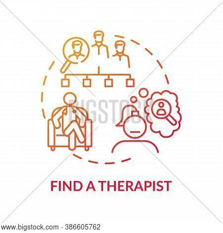 Find Therapist Concept Icon. Search For Psychologist Idea Thin Line Illustration. Licensed Professio