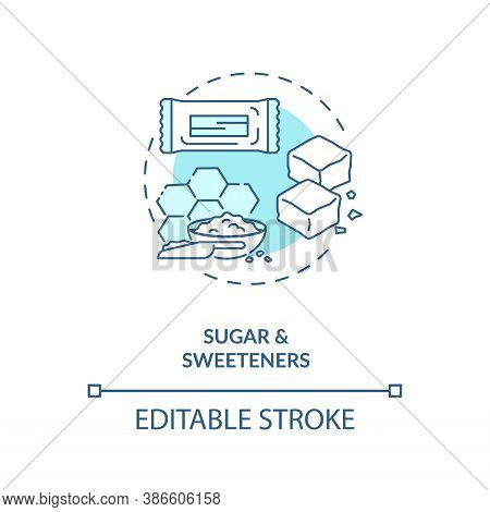 Sugar And Sweeteners Concept Icon. Diet Energy Drinks Idea Thin Line Illustration. Food Additives. S