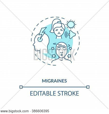 Migraines Concept Icon. Headache Trigger Idea Thin Line Illustration. Debilitating Headaches. Medica