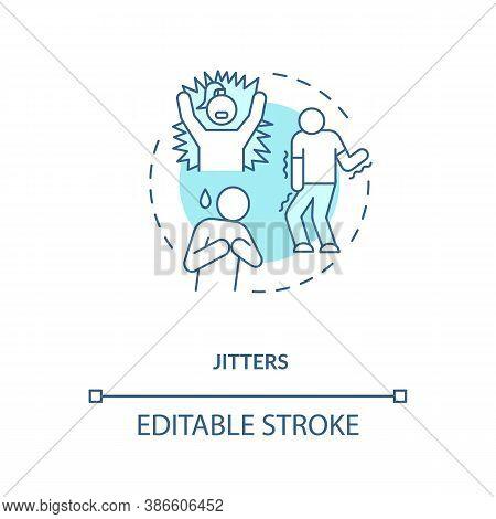 Jitters Concept Icon. Adrenaline Levels Boost Idea Thin Line Illustration. Jittery Sensations. Energ