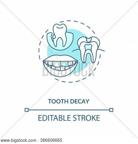 Tooth Decay Concept Icon. Energy Drinks Negative Side Effects Idea Thin Line Illustration. Enamel De