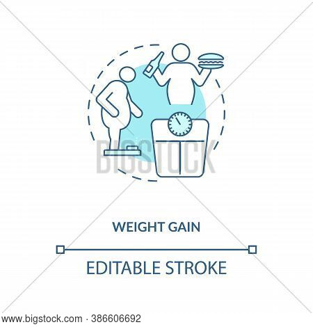 Weight Gain Concept Icon. Calories In Energetics Idea Thin Line Illustration. Health Condition. High