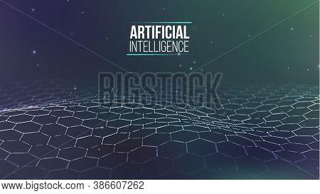 Artificial Intelligence Vector Wave Light Background Digital Wallpaper. Communication Network. Busin