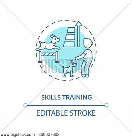 Skills Training Concept Icon. Dogs Day Camp Services. Stronger Body. Animal Speed Increasing. Traini