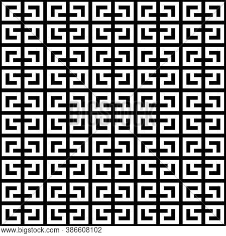 Seamless Chinese Window Tracery Surface Pattern. Asian Lattice Design. Repeated White Square Scrolls