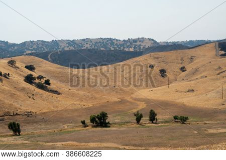 The San Luis Reservoir Valley During Dry And Hot Season, San Luis Creek In The Eastern Slopes Of The