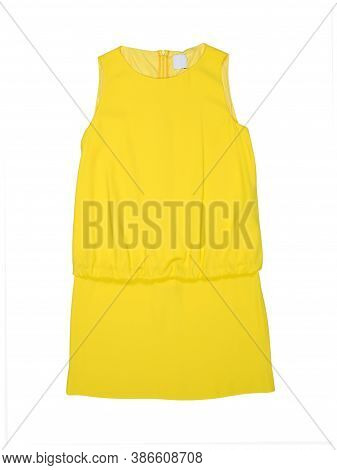 Plain Yellow Summer Dress Without Sleeves Isolated On White Background. Flat Lay