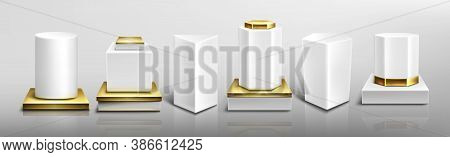 White Pedestals Or Podiums With Golden Base And Protruding Parts, Abstract Geometric Empty Museum St