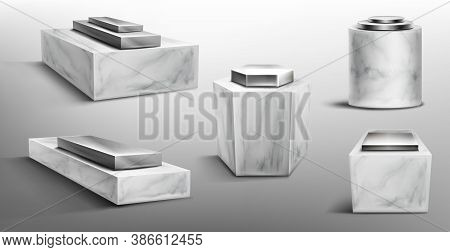Marble Pedestals With Metal Platform On Top For Display Product, Exhibit Or Trophy. Vector Realistic