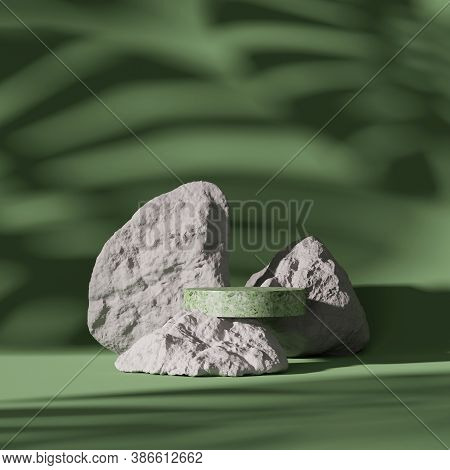 3d Pedestal Display And Rock On Monstera Exotic Palm Leaf Shadow. Green, Pastel Background With Terr