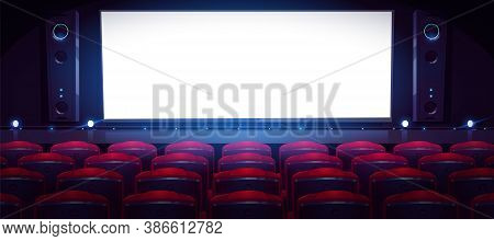 Movie Theater, Cinema Hall With White Screen And Rows Of Red Seats. Vector Cartoon Interior Of Dark