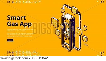 Smart Gas App Banner. Digital Service For Control Of Fuel In Car. Vector Landing Page Of Mobile Phon