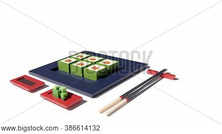 Sushi Set 3d Rendering Low Poly Model. Sushi Rolls, Wasabi And Chopsticks On White Background. Japan
