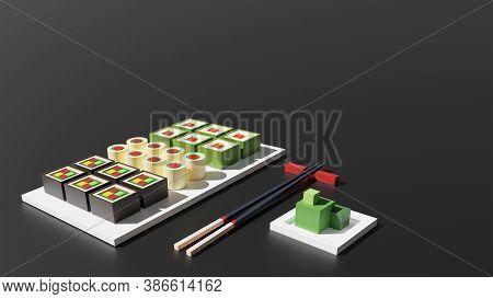 Sushi Set 3d Rendering Low Poly Model. Sushi Rolls, Wasabi And Chopsticks On Black Background. Japan