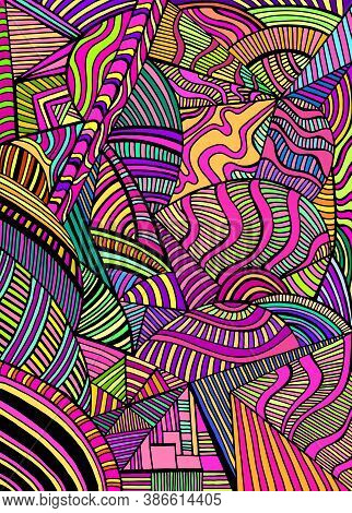 Bright Abstract Geometric Shapes From Triangles, Ellipses With Many Patterns, Doodle Psychedelic Art