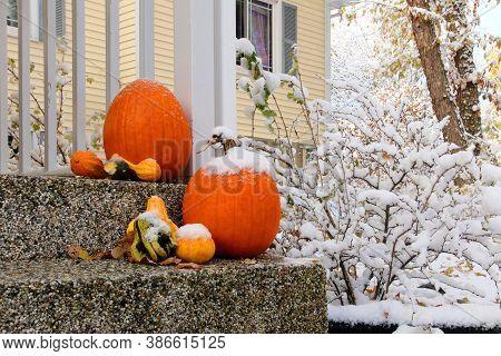 Seasonal House Outdoor Decoration. Early Snow Background, Climate Changing Concept. Group Of Pumpkin