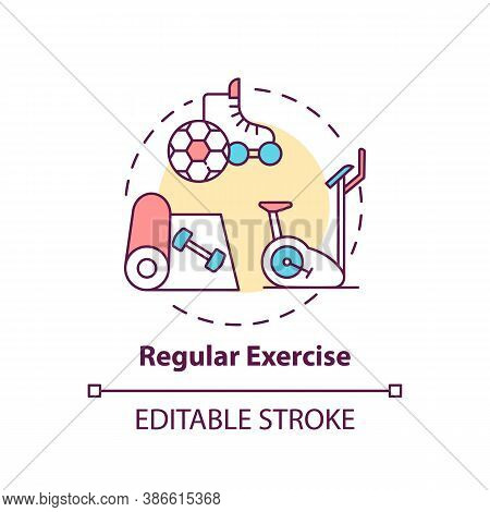 Regular Exercise Concept Icon. Workout Routine. Cardio Training In Gym. Body Care For Better Sleep I