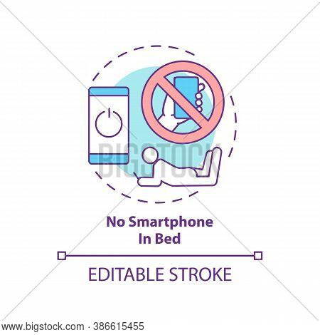 No Smartphone In Bed Concept Icon. Avoid Phone Using Before Bedtime. Nighttime Routine. Sleep Regula