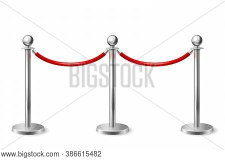 Vector 3d Realistic Fence For The Red Carpet Closeup Isolated On White Background. Red Barrier Rope.
