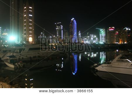 Dubai Marina Boats Night