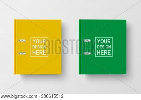 Vector 3d Closed Realistic Yellow And Green Blank Office Binder With Metal Rings For A4 Paper Sheet