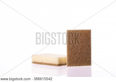 Organic Eco-friendly Sponges For Washing Dishes Isolated On White Background. Dual-sided Scrubbing N
