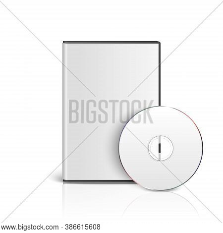 Vector 3d Realistic Cd, Dvd With Cover Box Set Closeup Isolated On White Background With Reflection.