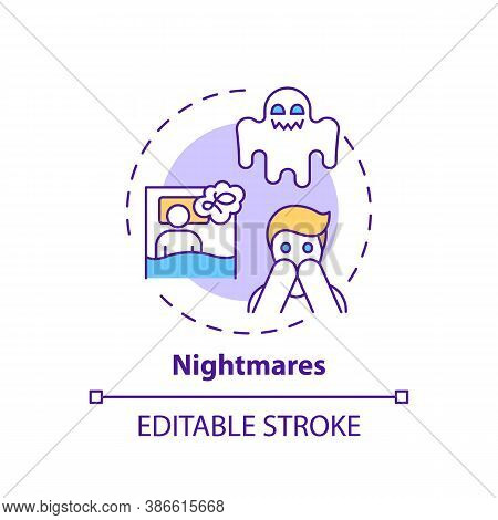 Nightmares Concept Icon. Night Terrors. Healthcare Problem. Awake From Fear. Anxiety And Stress. Sle