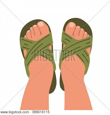 Flip Flop Top View. Feet In Shoes. Beach Or Home Shoes. Open Shoes. Vector Illustration