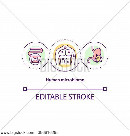 Human Microbiome Concept Icon. Body Microflora Idea Thin Line Illustration. Bacteria In Digestive Sy