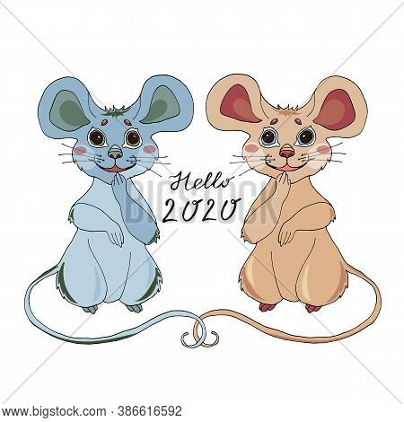Cartoon Mouse With Poinsettia Flower For The Design Of Childrens Clothing, Textiles, Cards, Stickers