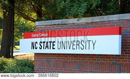 RALEIGH, NC, USA - SEPTEMBER 04, 2020 : Central campus entrance sign at North Carolina State University in Raleigh, North Carolina. It is largest university in both North and South Carolina.