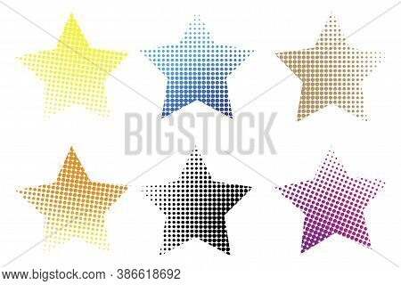 Christmas Stars. Half Tone Of The Star. Five-pointed Stars. Vector Illustration.