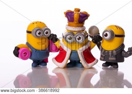 Los Angeles, Usa - August 17, 2020: Minions Toys Stuart Carl Bob Isolated On White Background An Act