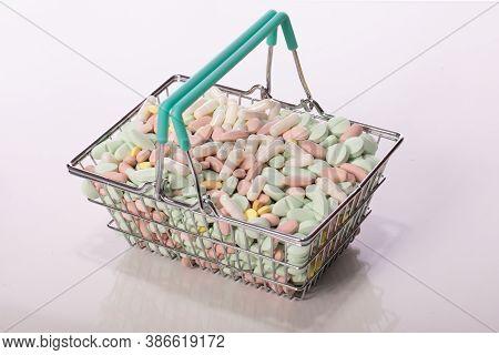 Shopping Basket Full Of Medicine Pills Isolated On White Background. Healthcare, Pharmacy, Drugstore