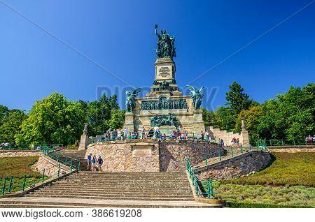 Rudesheim Am Rhein, Germany, August 24, 2019: Niederwalddenkmal Germania Monument On Niederwald Broa