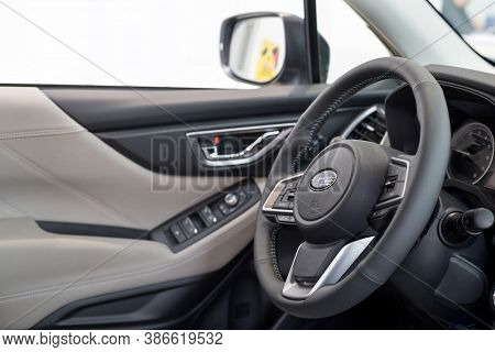 Russia, Izhevsk - August 13, 2020: Subaru Showroom. Interior Of New Forester Car In Dealer Showroom.
