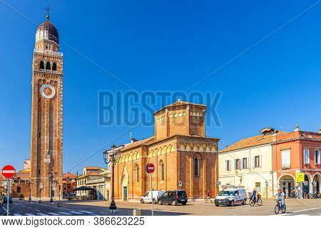 Chioggia, Italy, September 16, 2019: Clock And Bell Tower Of Cathedral Santa Maria Assunta Duomo And