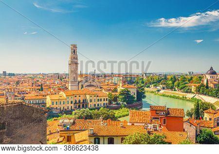 Aerial View Of Verona Historical City Centre, Adige River, Verona Cathedral Catholic Church, Duomo D