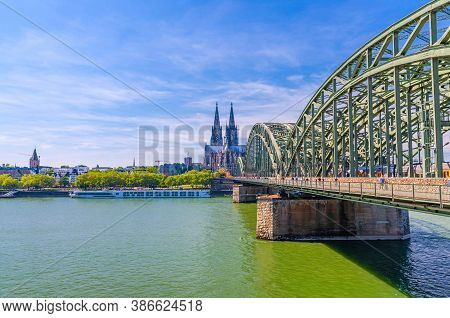 Cologne Cityscape Of Historical City Centre With Cologne Cathedral Roman Catholic Church Of Saint Pe