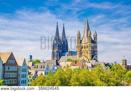 View Of Historical City Centre With Towers Of Cologne Cathedral Of Saint Peter, Great Saint Martin R