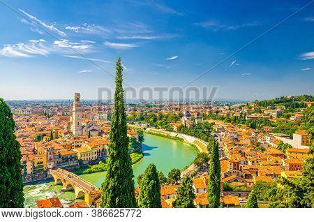 Aerial View Of Verona Historical City Centre, Ponte Pietra Bridge Across Adige River, Verona Cathedr