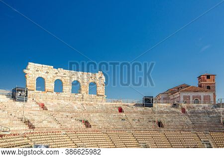 Verona, Italy, September 12, 2019: Verona Arena Interior Inside View With Stone Stands. Roman Amphit