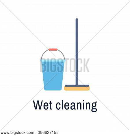Bucket And Mop Flat Icon Isolated On White Background. Cleaning Service Housework Tools. Brush Pail