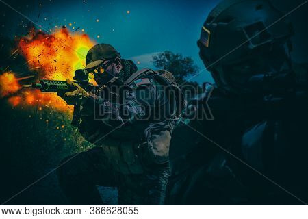 Army Special Operations Forces Soldiers, Navy Seals Team Armed Assault Rifle, Rushing On Battlefield